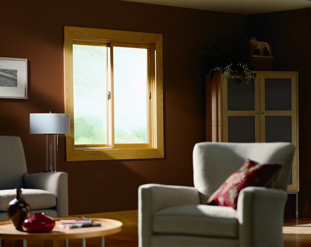 replacement Andersen wood glider window in living room