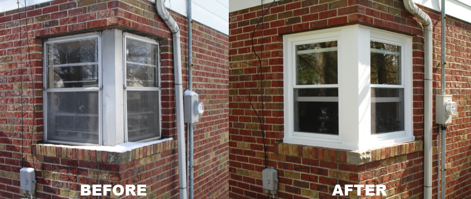 Casement Window Replacement in brick wall