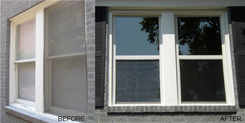 Replacement window with shutters