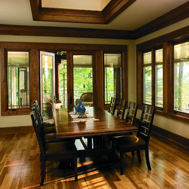 Pella wood casement or awning replacement windows in dining room