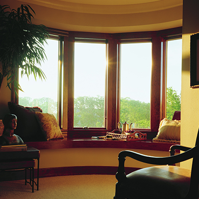 Andersen wood casement or awning replacement windows in bowed frame