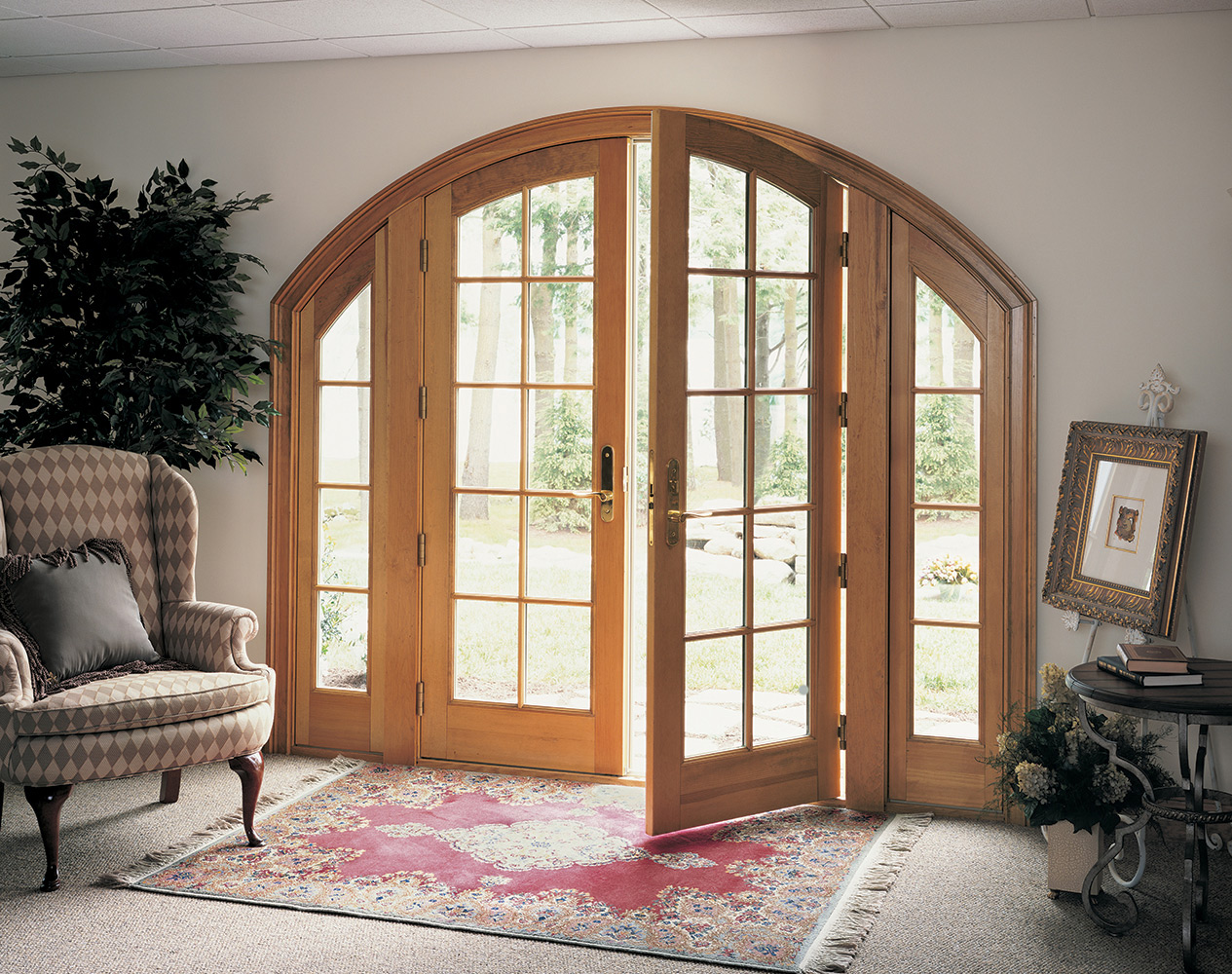 Marvin replacement hinged patio doors with arched top