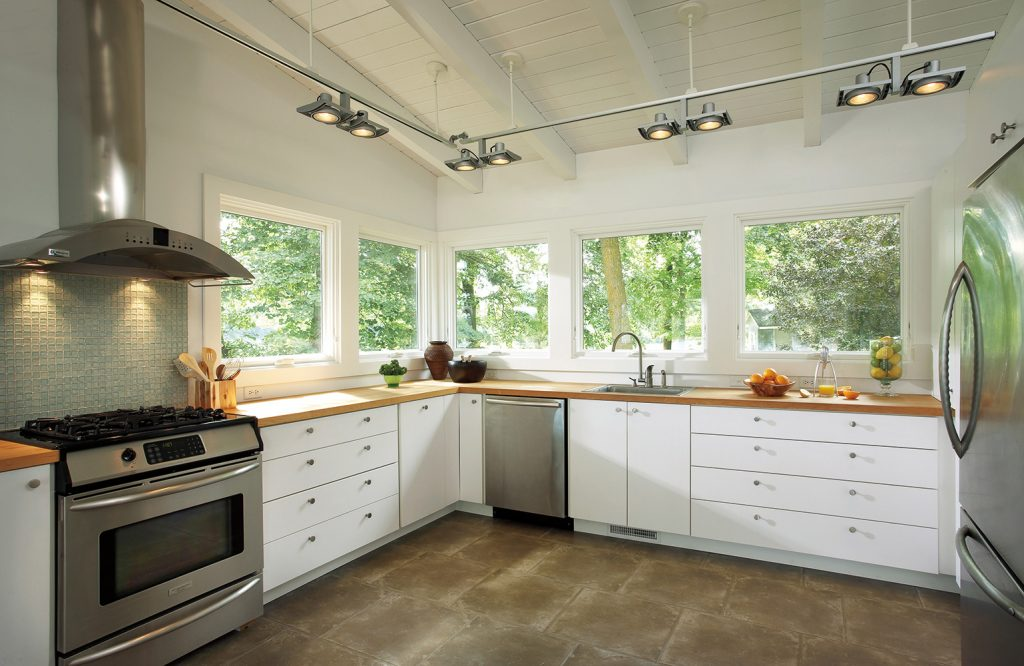 Marvin wood awning windows above kitchen coutnertops