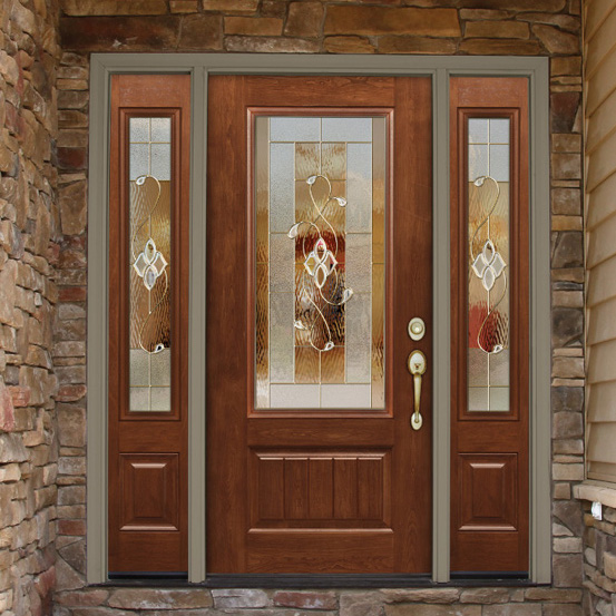 Provia Replacement Entry Door Wood with Brick entryway